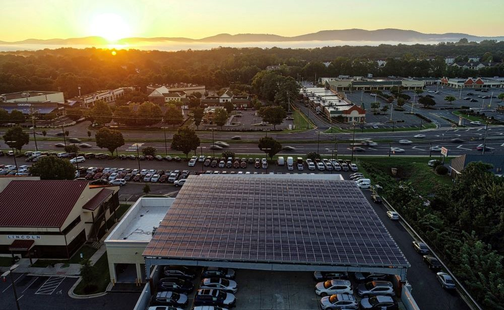 Solar carport by Sun Tribe at Carter Myers Automotive in Charlottesville, VA
