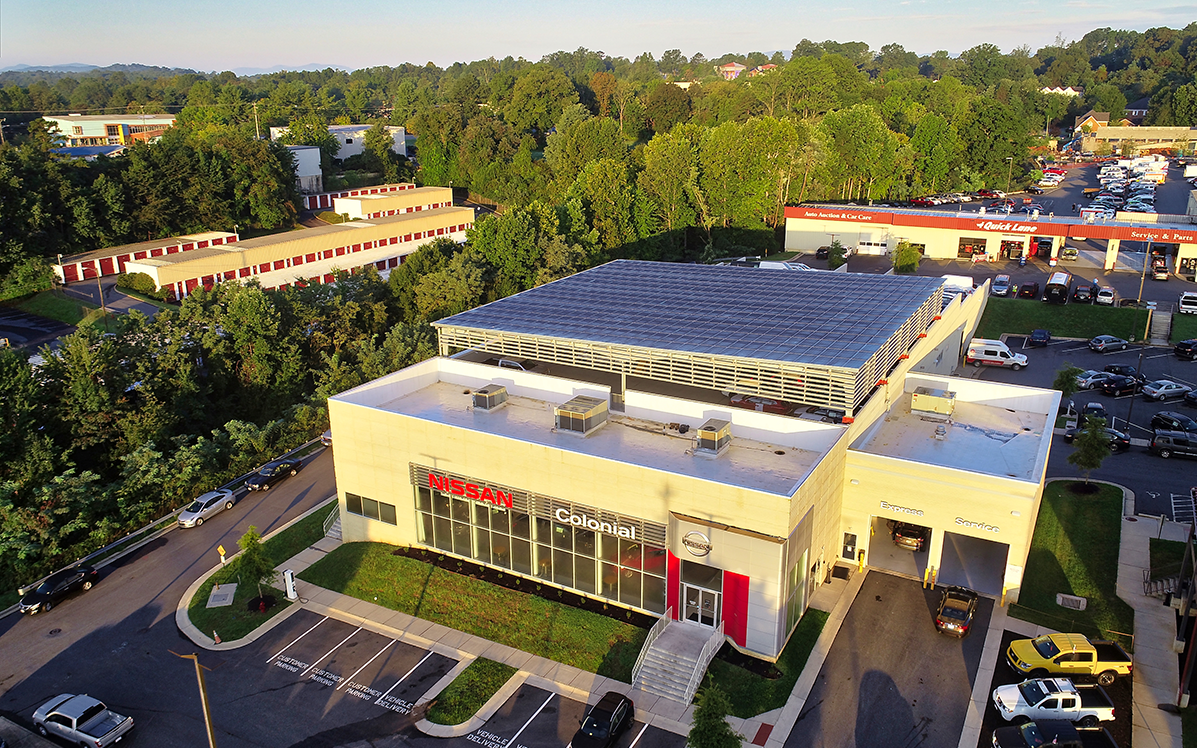 Colonial Nissan's carport serves the auto dealership with renewable energy.